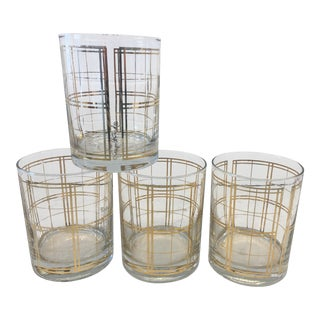 1960s Georges Briard 22k Gold Plaid Cocktail Tumblers - Set of 4