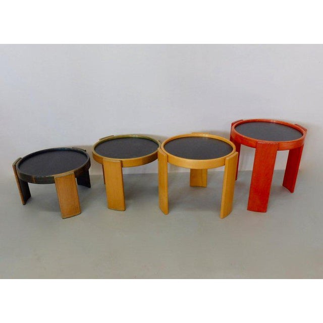 Cassina Early Production Gianfranco Frattini for Cassina Flip Top Nesting Tables - Set of 4 For Sale - Image 4 of 12