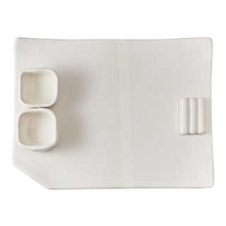 """Contemporary Handmade Ceramic """"Benny"""" Plate in Blanc For Sale"""