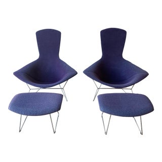 Knoll Bertoia Bird Chair and Ottoman Pair - 4 Pieces For Sale