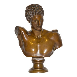 Bronze Bust Hermes of Olympia 19th Century Grand Tour For Sale