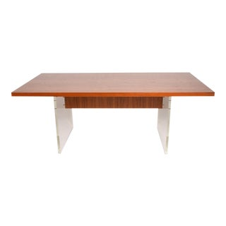 Mid-Century Danish Modern Teak and Lucite Dining Table For Sale