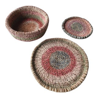 Primitive Woven Pine Needle Basket Trio - Set of 3 For Sale