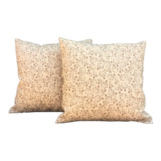 """Toffee """"Feathers"""" Linen Pillows - a Pair For Sale"""