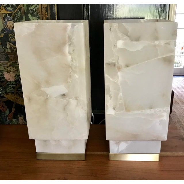 Contemporary Alabaster Table Lamps - a Pair For Sale - Image 9 of 9