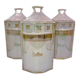 Vintage German Iridescent Canister - Set of 3 For Sale