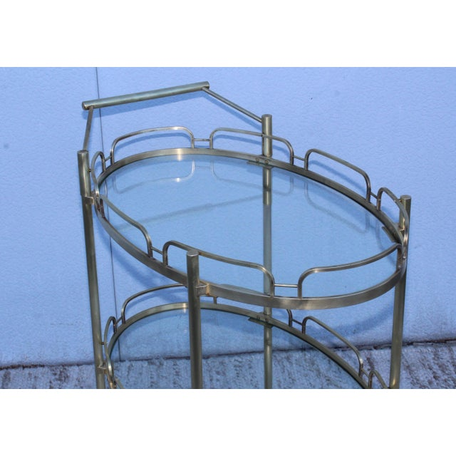Signed Maxwell-Phillips Patinated Brass Bar Cart For Sale - Image 9 of 13