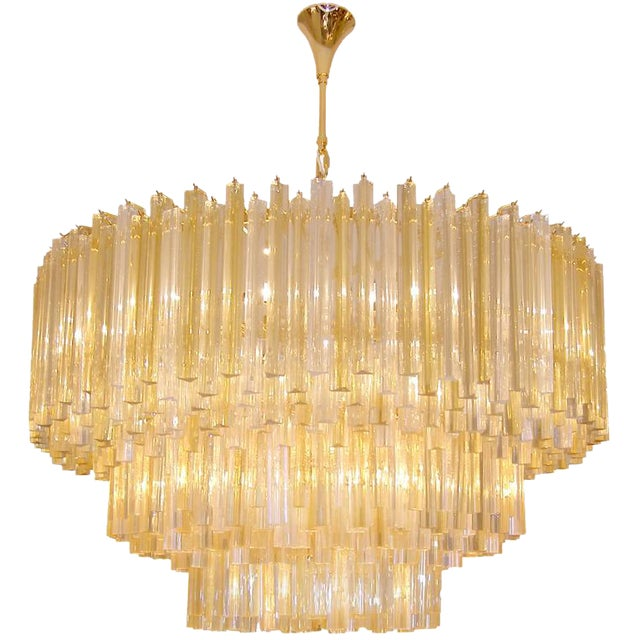 Three-Tiered Amber and Clear Crystal Chandelier For Sale