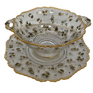 1950s Glass Serving Bowl and Plate With Gold Floral Inlay For Sale