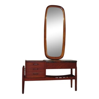 Danish Teak Marble Top Vanity With Mirror For Sale