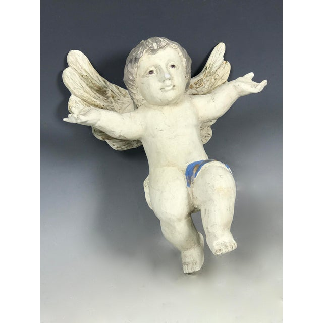 Handcarved Wood Hanging Angel For Sale - Image 4 of 7