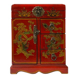 Chinese Oriental Red Dragon Phoenix Mirror Rectangular Jewelry Box For Sale