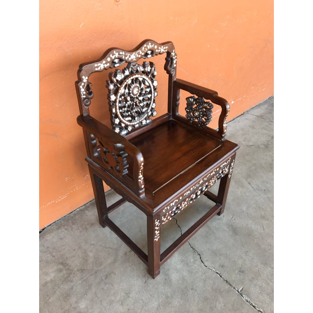 Asian Regal Mother of Pearl Inlaid Asian Side Chair For Sale - Image 3 of 8