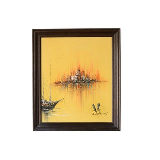 Brutalist Floating Cityscape Painting For Sale