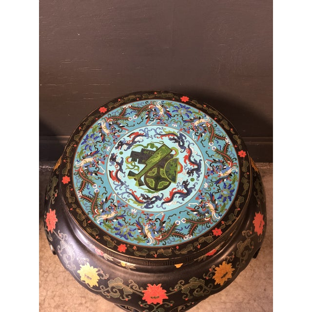 Asian 1920's Chinese Round Black Lacquered Side Tables With Blue Cloisonné Tops For Sale - Image 3 of 10