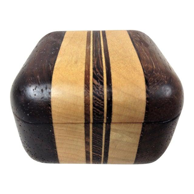 20th Century African Padauk Wenge Maple Ring/Trinket Box For Sale