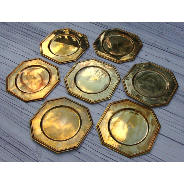 Vintage Solid Brass Hexagon Charger Plates - 6 - Image 3 of 7