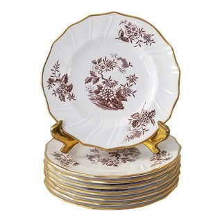 "Spode Copeland 6 1/4"" Bread Plates in in Brown and White Berkshire Pattern - Set of Eight For Sale"