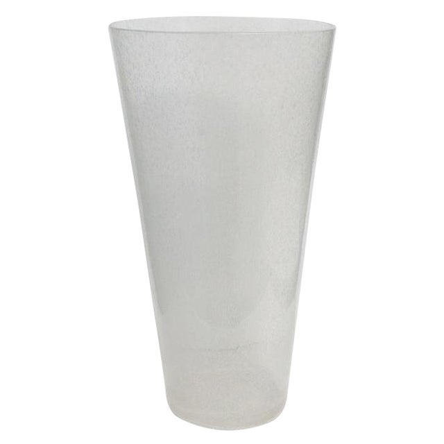 Oversized Italian Clear Bollicine Murano Glass Vases For Sale