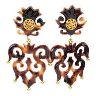 Isabel Canovas Paris Oversized Tortoise Resin Clip on Earrings For Sale