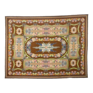 Late 19th Century Antique Portuguese Savonnerie Needlepoint Palace Rug 16'03 X 21'05 For Sale