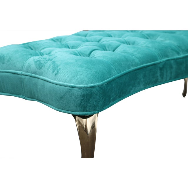 Tufted Aqua Velvet Ottoman With Brass Legs - Image 4 of 5