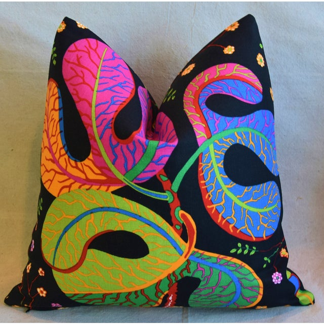 """Early 21st Century Designer Josef Frank """"Teheran"""" Floral Linen Feather/Down Pillows 18"""" Square - Pair For Sale - Image 5 of 11"""