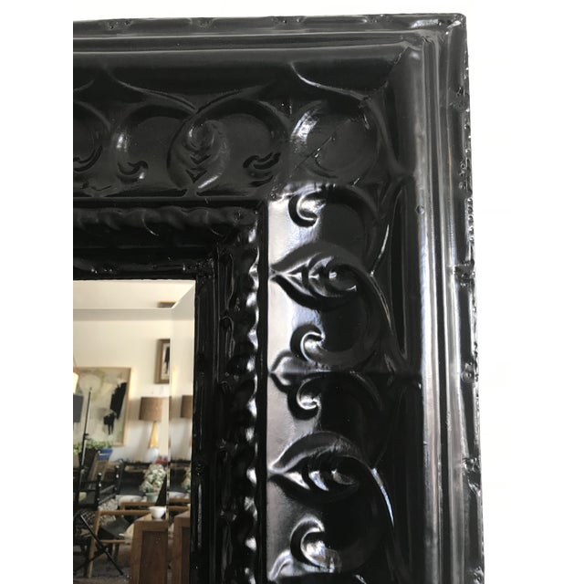 Art Deco 19th Century Antique Tin Ceiling Tile Ebony Floor Mirror For Sale - Image 3 of 6