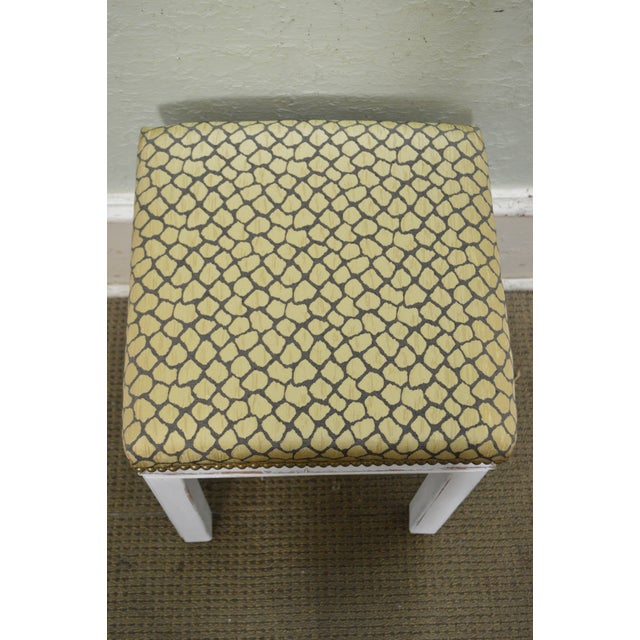 Mid Century Pair of Custom Painted Square Stools Benches For Sale - Image 9 of 11