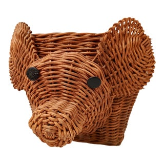 1970s Boho Chic Wicker Mouse Planter For Sale