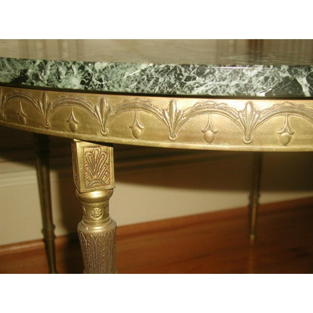 Bronze Neoclassical Marble & Mirror Coffee Table - Image 4 of 10