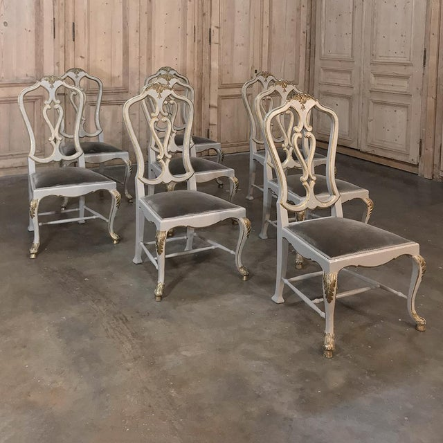 Early 20th Century Eight 19th CenturyPainted and Gilded Italian Dining Chairs- Set of 8 For Sale - Image 5 of 13