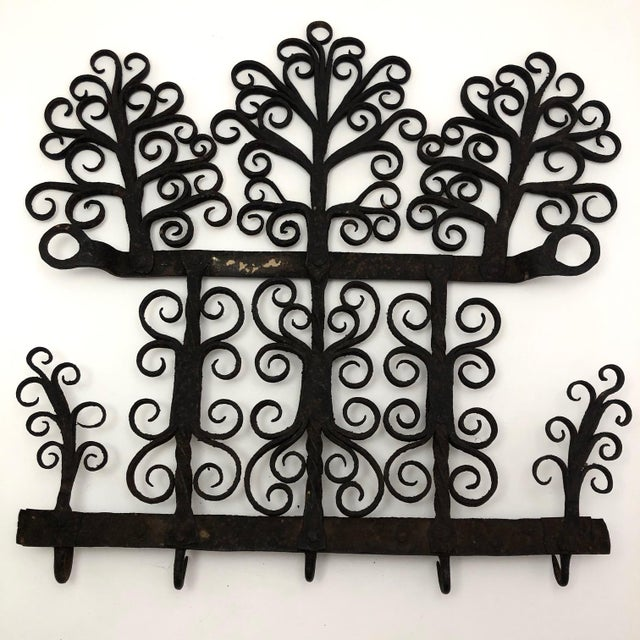 Antique Hand Forged Wrought Iron Utensils Rack, Forks and Spatula For Sale - Image 11 of 13