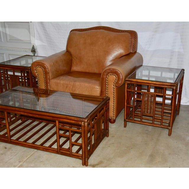 Brown 1980s Vintage McGuire Style Bamboo Rattan Glass Top Tables- Set of 3 For Sale - Image 8 of 12
