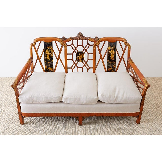 English Chinoiserie Chippendale Style Pagoda Top Settee For Sale - Image 4 of 13