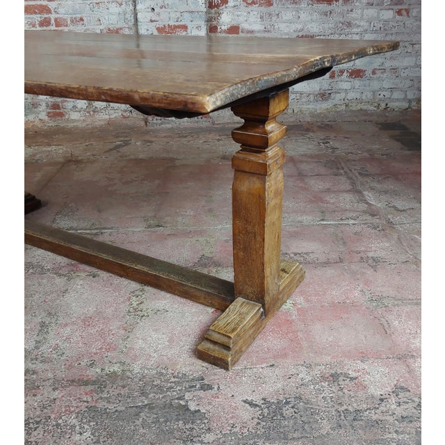 Wood 19th Century Farmhouse Trestle Dining Oak Table For Sale - Image 7 of 10