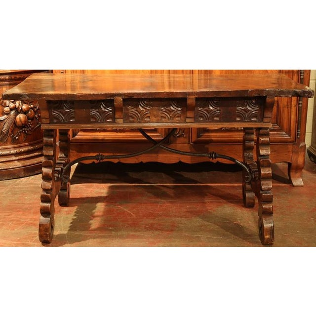 18th Century Spanish Carved Walnut Table Desk For Sale - Image 10 of 10