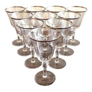 Silver Rimmed Wine Glasses - Set of 10 For Sale