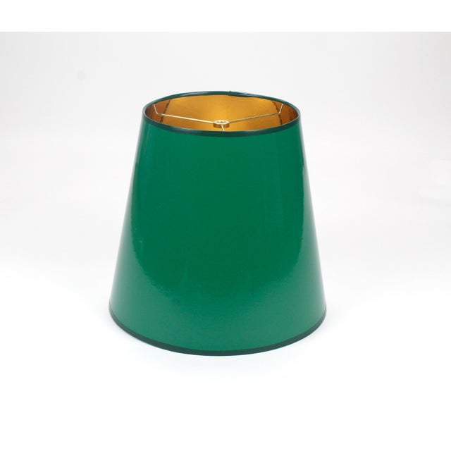 Not Yet Made - Made To Order High Gloss Tapered Dark Green Lampshade With Gold Lining For Sale - Image 5 of 5