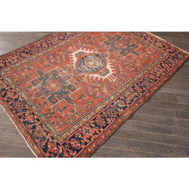 """Antique Heriz Wool Rug- 4'6"""" x 6'3"""" - Image 7 of 7"""