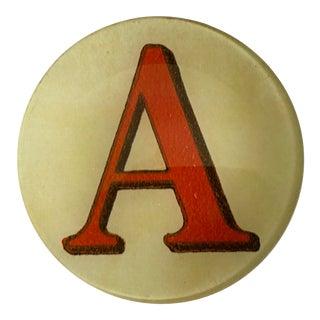 "John Derian Letter ""A"" Decoupage Plate For Sale"