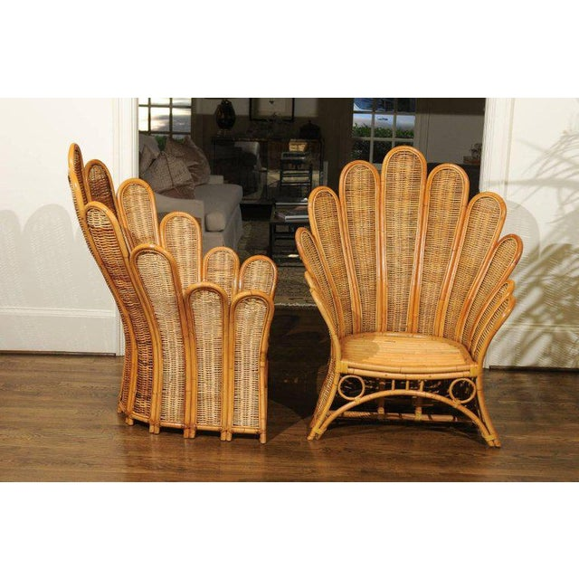 Rattan Majestic Restored Pair of Vintage Rattan and Wicker Palm Frond Club Chairs For Sale - Image 7 of 13