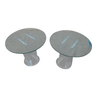 1970s Lucite and Glass Top Side Tables- a Pair For Sale