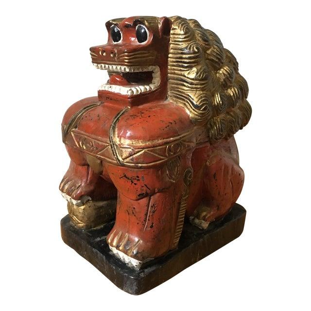 Large Carved Foo Dog Figure For Sale