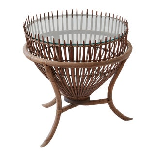 Bamboo and Glass Accent Table For Sale
