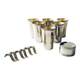 Vintage Metal Travel Mugs - Set of 6 For Sale