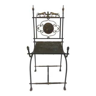1930s Vintage Sensational Sculptural Neoclassical Iron & Brass Oscar Bach Accent Chair For Sale