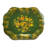 Image of England Chippendale Large Hand Painted Green Fruit Tole Tray For Sale