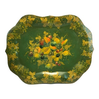 England Chippendale Large Hand Painted Green Fruit Tole Tray For Sale