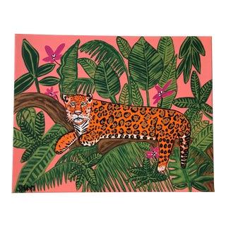 Jaguar Safari Painting, Jungle Painting, Hollywood Regency Painting For Sale